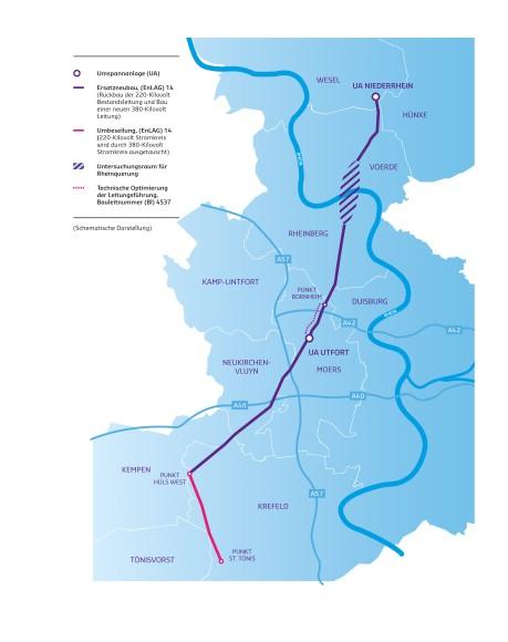 Karte Niederrhein.Projektbeschreibung Niederrhein Wesel Osterath